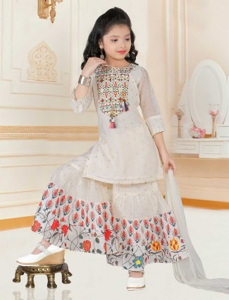 Cream pinjabi sharara suit for girls in raw silk