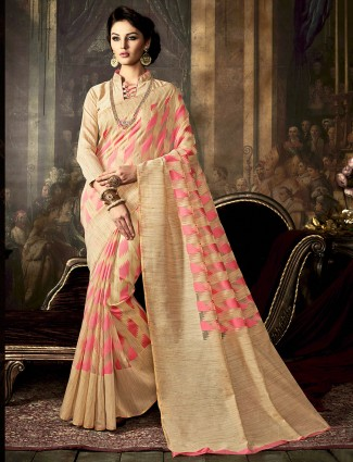 Cream pink kamakshi silk saree