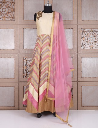 Cream pink long anarkali suit