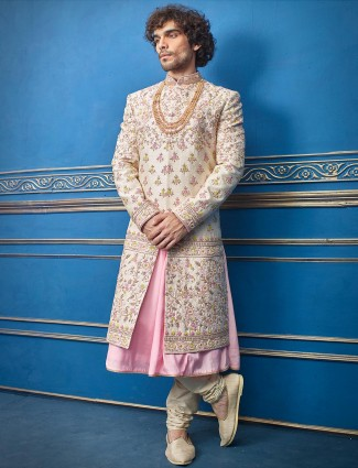 Cream pink raw silk designer double layer sherwani suit