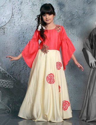 Cream pink silk party wear gown