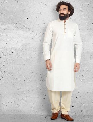 Cream plain cotton classy pathani suit