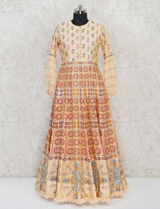 Cream printed anarkali suit for the wedding