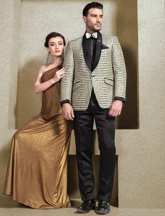 Cream printed coat suit