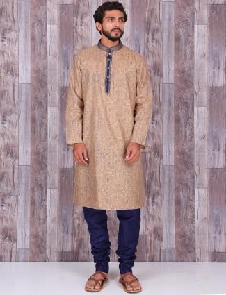 Cream printed cotton kurta suit