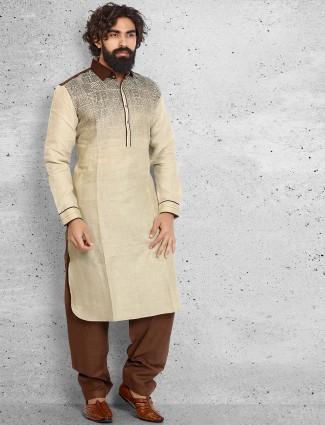 Cream printed cotton pathani suit