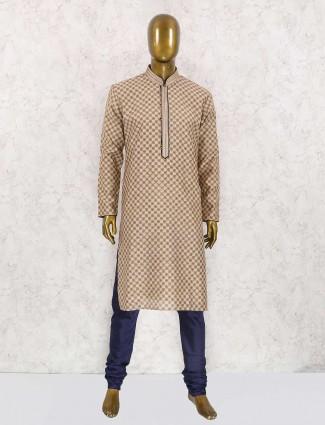 Cream printed partywear kurta suit