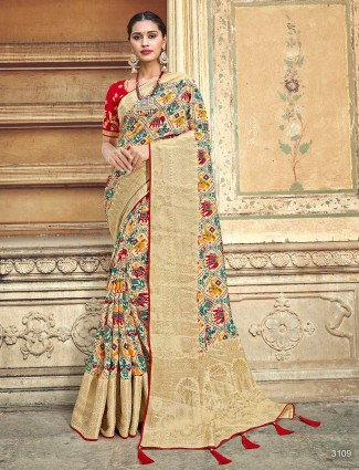 Cream printed zari border patola silk saree