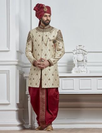 Cream raw silk groom indo western