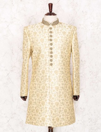 Cream raw silk indo western for wedding
