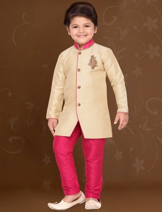 Cream raw silk kurta suit