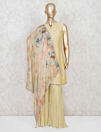 Cream raw silk wedding sharara suit