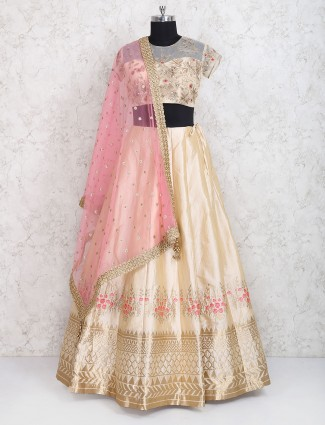 Cream raw silk wedding wear lehenga choli