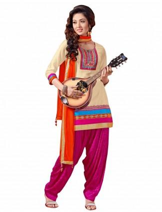 Cream ready made cotton silk festive wear punjabi salwar suit