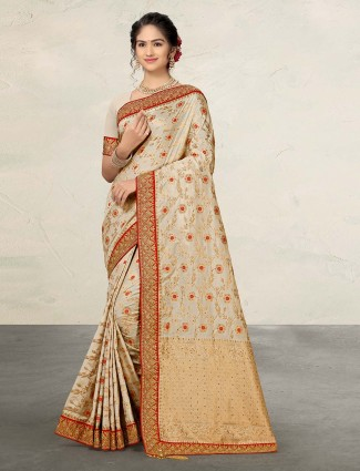 Cream reception or wedding banarasi silk sari