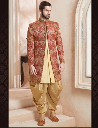 Cream red double layered indo western