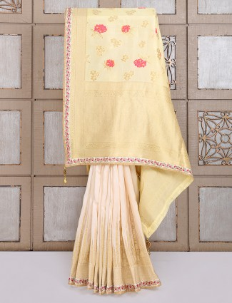 Cream semi silk festive wear saree
