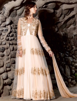 Cream semi stitched net party wear anarkali salwar suit