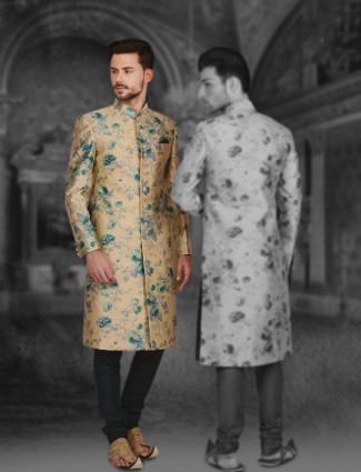 Cream silk attractive sherwani