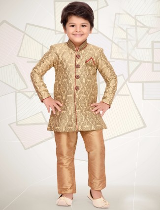 Cream silk boys kurta suit
