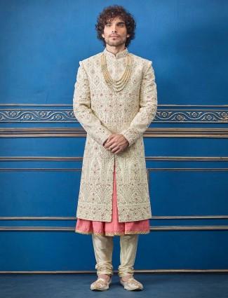 Cream silk double layer sherwani for groom wear