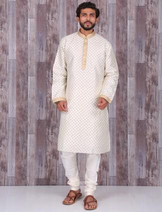 Cream silk dressy kurta suit