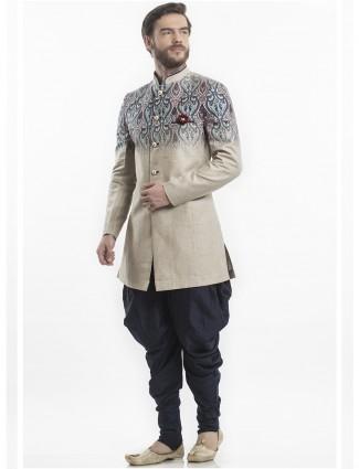 Cream silk dressy silk indo western