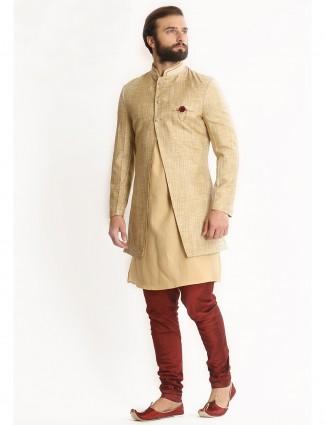 Cream silk kurta style indo western