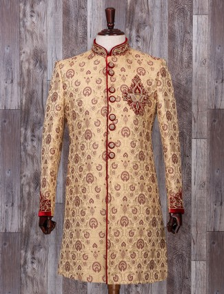 Cream silk mens indo western for wedding function