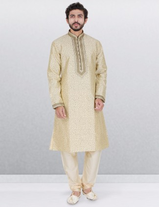 Cream silk printed kurta suit