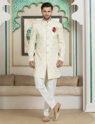 Cream silk thread and zari indo western with churidar