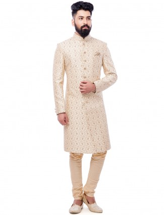 Cream silk wedding wear attractive sherwani