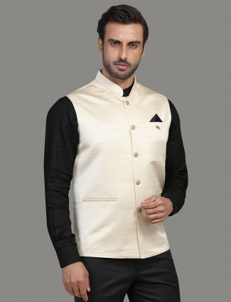 Cream solid terry rayon mens waistcoat