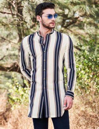 Cream stripe patern cotton only kurta for festive days