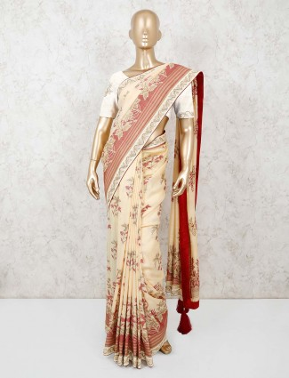 Cream thread weaving munga silk saree for weddings