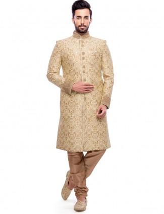 Cream wedding wear jamawar sherwani