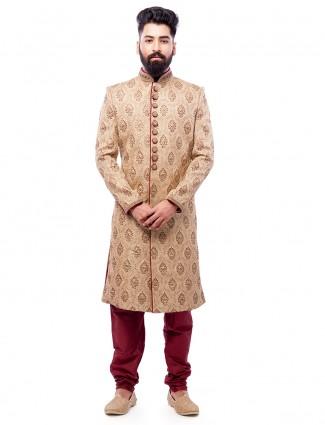 Cream wedding wear sherwani in jamawar fabric