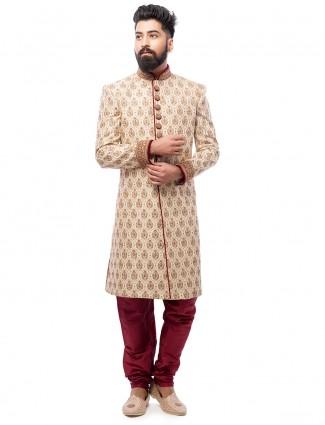 Cream wedding wear silk attractive sherwani
