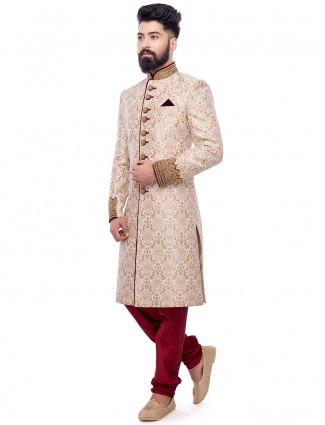 Cream wedding wear silk sherwani