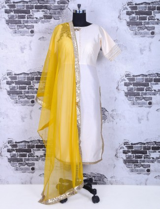 Cream yellow festive wear palazzo suit