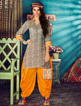Cream yellow silk punjabi suit