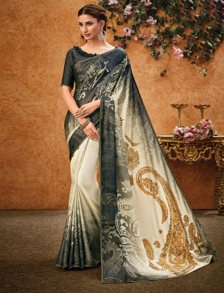 Crepe cream and black printed sari