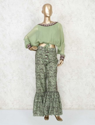 Crop and sharara in indowestern style for party