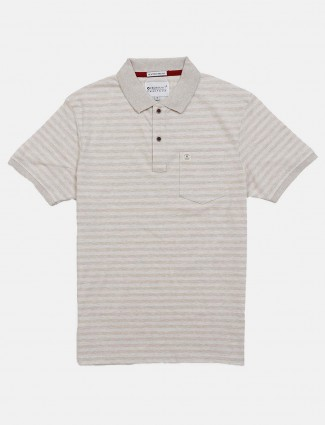 Crossknit beige stripe patch pocket t-shirt