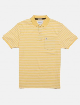 Crossknit stripe yellow slim fit t-shirt