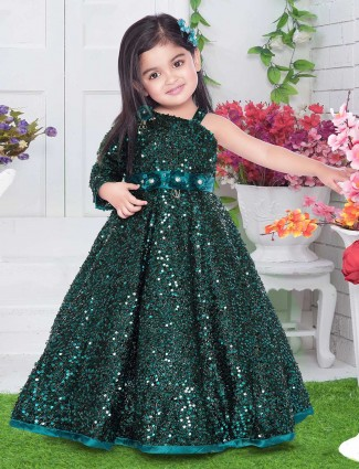 Cute baby bottle green floor length gown