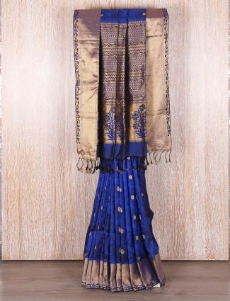 Dark blue bangalore silk saree