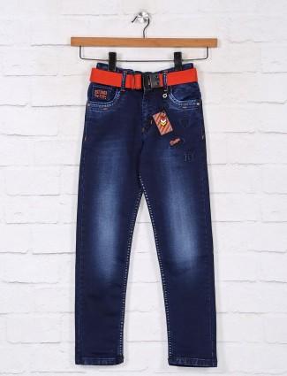 Dark blue denim slim fit jeans