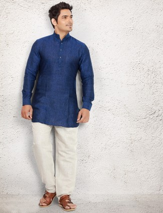 Dark blue linen festive pathani suit