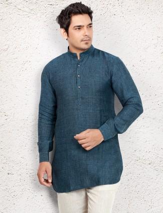 Dark blue simple short pathani